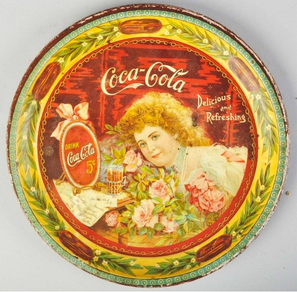 1901 Coca-Cola Hilda with Roses Serving Tray