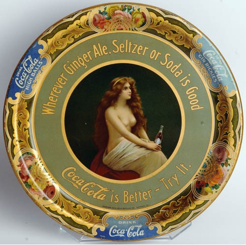 1908 Coca-Cola Topless Girl Tray