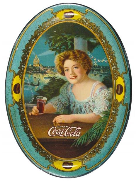 1909 Coca-Cola Exhibition Girl Change Tray