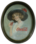 1913 Coca-Cola Hamilton King Girl Oval Serving Tray