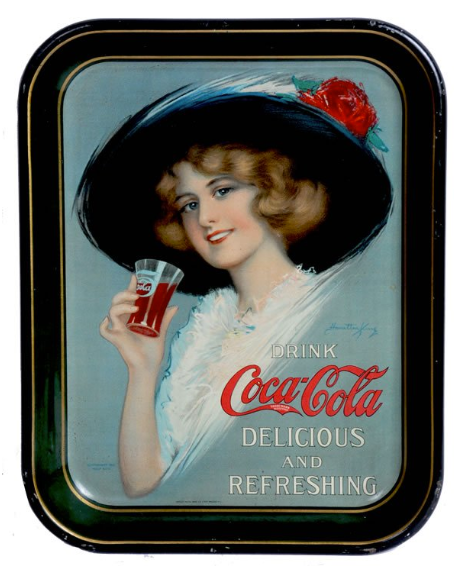 1913 Coca-Cola Hamilton King Girl Standard Serving Tray