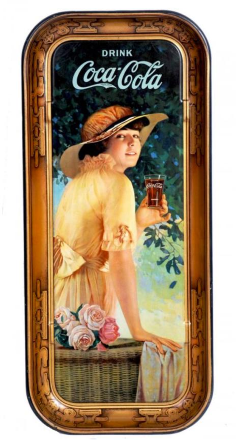 1916 Coca-Cola Elaine Long Rectangular Tray | Antique Coca-Cola Tray