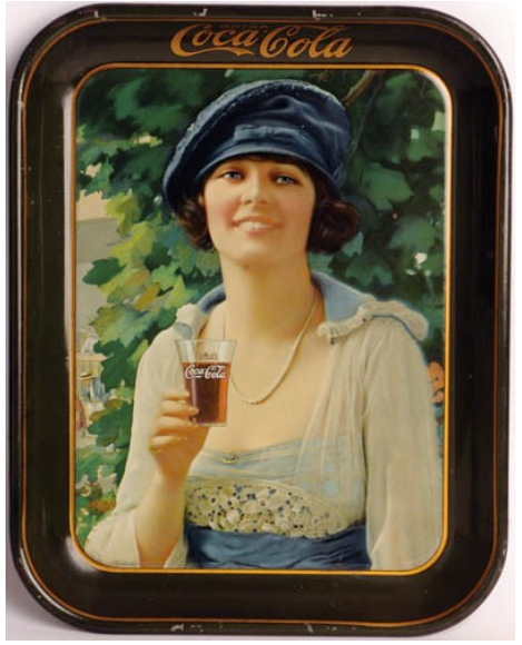 1921 Coca-Cola Autumn Girl Tray