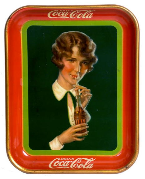 1928 Coca-Cola Girl with Bob Haircut Tray