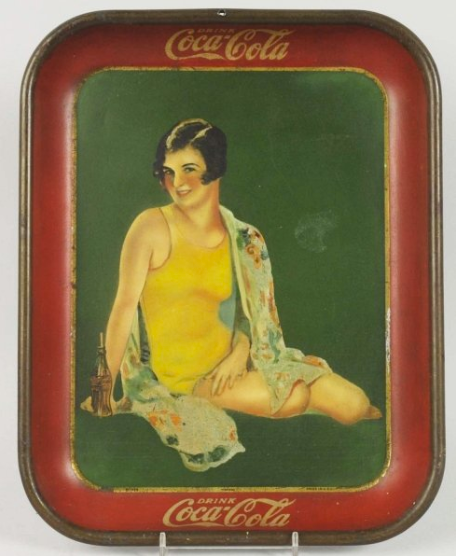 1929 Coca-Cola Girl in Yellow Suit with Bottle Tray
