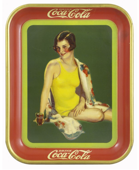 1929 Coca-Cola Girl in Yellow Suit with Glass Tray