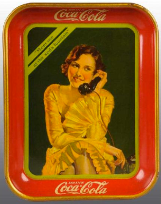 1930 Coca-Cola Telephone Girl Tray