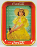 1938 Coca-Cola Girl in Yellow Hat Tray