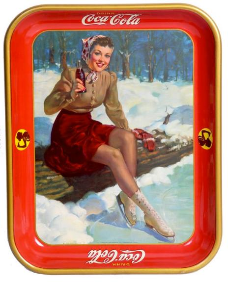 1941 Coca-Cola Skater Girl Tray | Antique Coca-Cola Tray Values