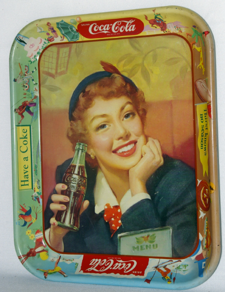 1950 Coca-Cola Menu Girl Tray